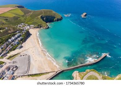Aerial photograph of Portreath Beach, Cornwall, England