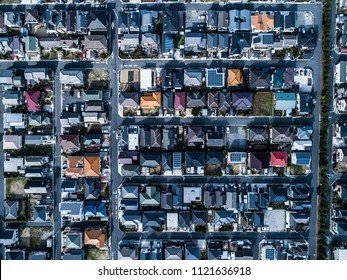 Aerial photograph of residential area in Japan. Viewpoint from directly above.