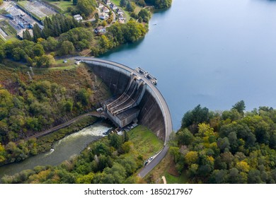 Aerial photograph of the Saint Etienne Cantales hydroelectric dam. Cantal. Auvergne. France. October 10, 2020.