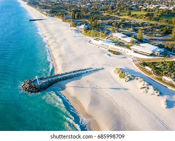 Aerial photograph of the sea wall at City Beach, Perth, Western Australia, Australia.