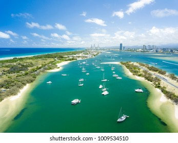 Aerial photograph of The Spit with the buildings of Surfers Paradise in the distance. Gold Coast, Queensland, Australia.