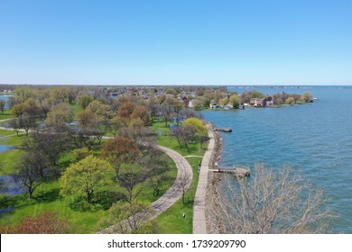 Aerial photograph taken at Lake St. Clair Metropark during the spring time. The recent rainfall has caused all of the water levels to be elevated. Harrison Township, Michigan.
