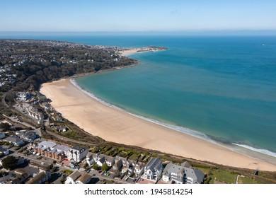 Aerial photograph taken near Carbis bay Beach, St Ives, Cornwall, England - Shutterstock ID 1945814254