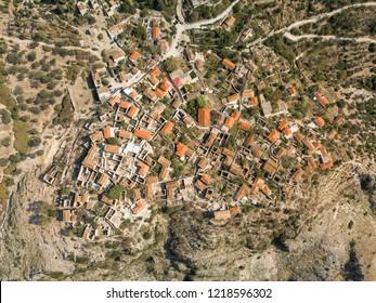 Aerial photograph of Upper Qeparo (Half-abandoned village in Albania) Albanian Riviera