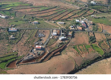 Aerial photograph with view of peasant houses and cultivated fields in the municipality of Pajara, on the island of Fuerteventura