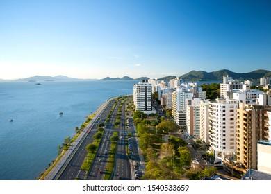 aerial photograph of the waterfront in Florianópolis, Santa Catarina, Brazil