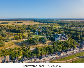 Aerial photography of the Amboise Chateau. The Loire Valley. France.