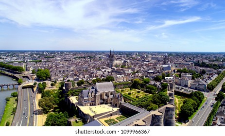 Aerial photography of Angers city centre, Maine et Loire