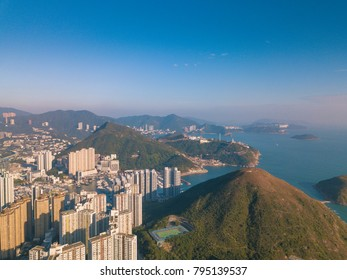 Aerial Photography of Ap Lei Chau and Skyscrapers in Aberdeen,Hong Kong