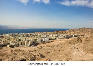 aerial photography of beautiful Eastern city on gulf of Aqaba Red sea bay sunny colorful scenic landscape place touristic destination for vacation in summer season time