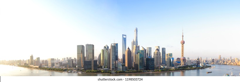 Aerial photography bird view at city landmark buildings backgrounds at Shanghai bund panorama Skyline