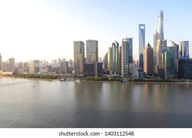 Aerial photography bird view at city landmark buildings backgrounds at Shanghai bund Skyline