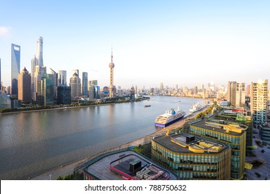 Aerial photography bird view at city landmark buildings backgrounds at Shanghai bund Skyline