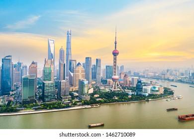 Aerial photography bird view at Shanghai bund Skyline of dusk