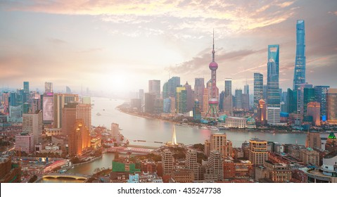 Aerial photography bird view at Shanghai bund Skyline of sunrise