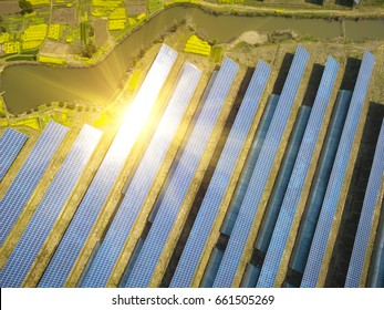 Aerial photography bird-eye view of Green energy and sustainable development for solar energy power generator