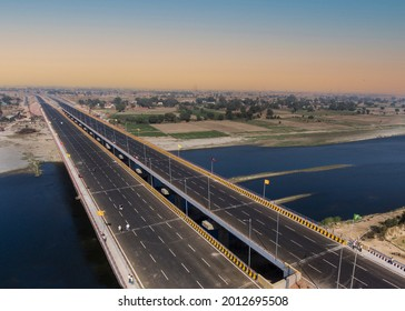 Aerial photography bird-eye view of Lucknow Agra new expressway and bridge and river Yamuna in Agra city of north INDIA