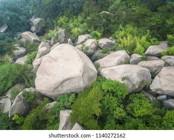 Aerial photography bird-eye view of mountain rocks and forests natural landscape