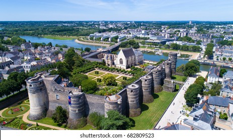 Aerial photography of the castle of the dukes of Anjou in Angers city, Maine et Loire, France