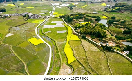 Aerial photography of China's new countryside and fields