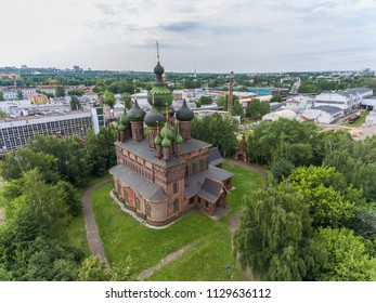 Aerial photography of the Church of St. John the Baptist in Tolchkovo, Yaroslavl, top view