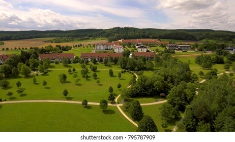 Aerial photography of the city of Bad Rodach in Bavaria. Germany.