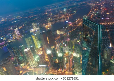 Aerial photography at City modern landmark buildings backgrounds of night scene in Shanghai