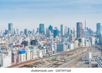 Aerial photography , Cityscape overlooking Tokyo, Japan