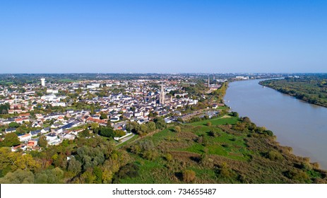 Aerial photography of Coueron city in Loire Atlantique, France