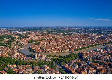 Aerial photography with drone. Beautiful panoramic view of the city of Verona, Italy.
