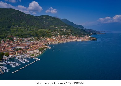 Aerial photography with drone. Italian town Salo on Lake Garda.