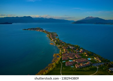Aerial photography with drone, lake Garda, Italy.