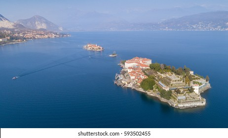 Aerial photography with drone over Stresa and its islands on lake Maggiore, Italy.