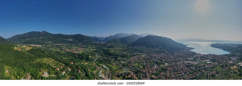 Aerial photography with drone. Panoramic view of the city Salo on Lake Garda.