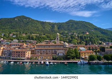 Aerial photography with drone. Panoramic view of the center of Salo on Lake Garda, Italy.