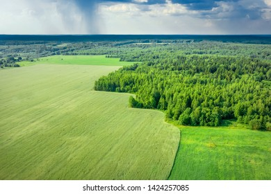 Aerial photography from drone. Summer landscape with views of agricultural fields