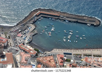 Aerial photography of the fishing port of the village of Candelaria, Tenerife, Canary Islands