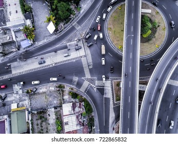 Aerial Photography of flyover traffic road in Bird View