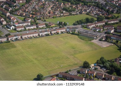 aerial photography of football / soccer ground in town