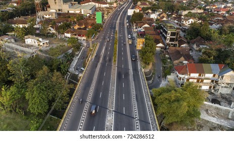 Aerial Photography highway road  city perspective