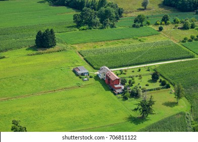 Aerial photography of houses and agricultural fields in the Friuli-Venezia Giulia region in northern Italy