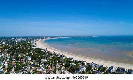 Aerial photography of La Baule Escoublac bay in Loire Atlantique, France. View from Le Pouliguen city.