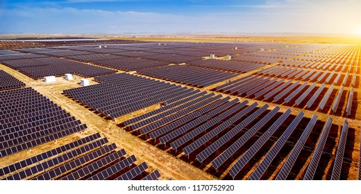 Aerial photography of large-area solar photovoltaic panels outdoors