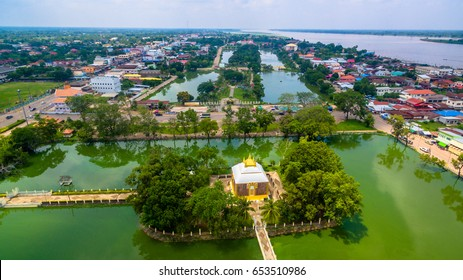 aerial photography Phrathat Phanom pagoda at Nakhon Panom province Thailand.the beautiful old Thai architecture in east of Thailand.