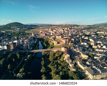 Aerial photography of Ponferrada city and its templar castle, one of the stops along the French way of the Santiago Walk or St. James Way to Santiago de Compostela.