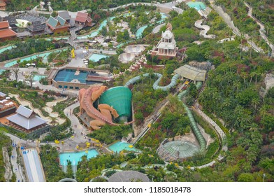 Aerial photography of the pools and slides of a water park on the coast of Adeje, Tenerife, Canary Islands