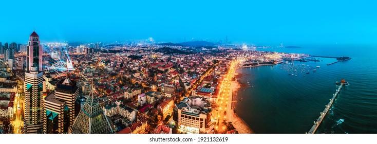 Aerial photography of Qingdao Bay at night