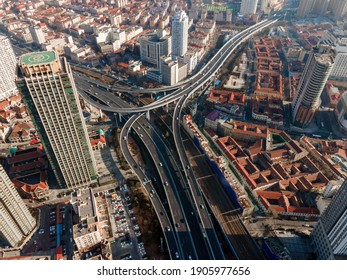 Aerial photography of Qingdao urban viaduct highway landscape
