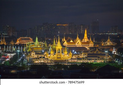 aerial photography at the Royal funeral pyre for King Bhumibol Adulyadej in twilight. the Royal funeral pyre starting to dismantle