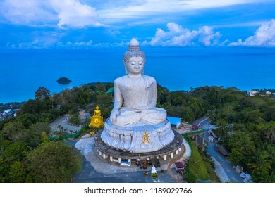 aerial photography scenery blue sky and blue ocean behind Phuket white big Buddha. Phuket white big Buddha is the 